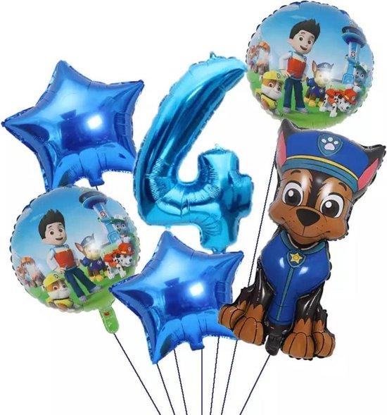 Pow Patrol Folie Ballonnen  set van 6 ballonnen - Aluminium Folie Ballon 4 jaar