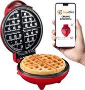 Buyables Mini Wafel Ijzer - Incl. Recepten -  Wafelmaker - Chaffle Maker - Rood - Bekend van TikTok
