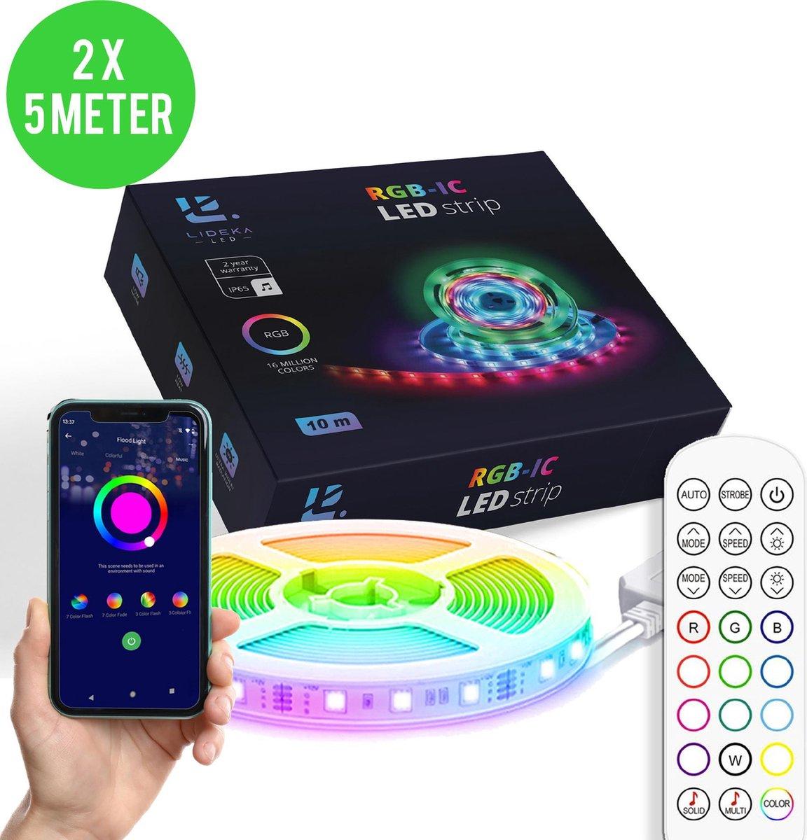 Lideka Dreamcolor Led Light strip - 10 meter (2x5) - RGB-IC Smart Led Verlichting - Incl App en Afstandsbediening