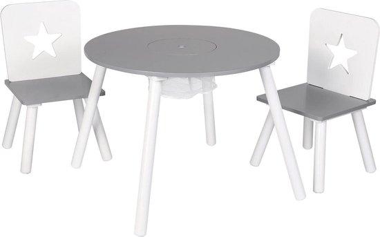 Kindertafel Met 2 Stoelen - Speeltafel - Met Opbergruimte - Kinderbureau - Tekentafel - Hout - Grijs/Wit