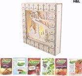 H&L houten Adventskalender gevuld met Pickwick thee - thee kalender - 24 verschillende smaken - kerstcadeau - LED verlichting - kerst - feestdagen - kerstpakket