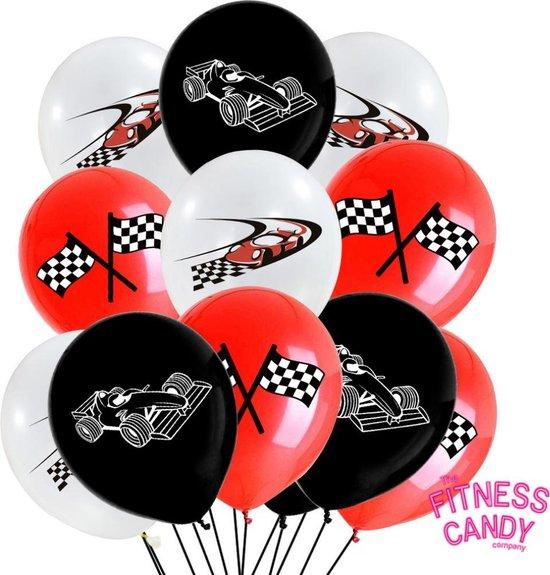 Formule 1 / Racevlag ballonnen  - Rood & Zwart - Set van 10