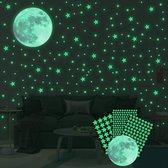 334 stuks Glow In The Dark Sterren en Maan Stickers – Sterrenhemel Muurstickers Kinderkamer / Slaapkamer / Babykamer – Lichtgevende sterren