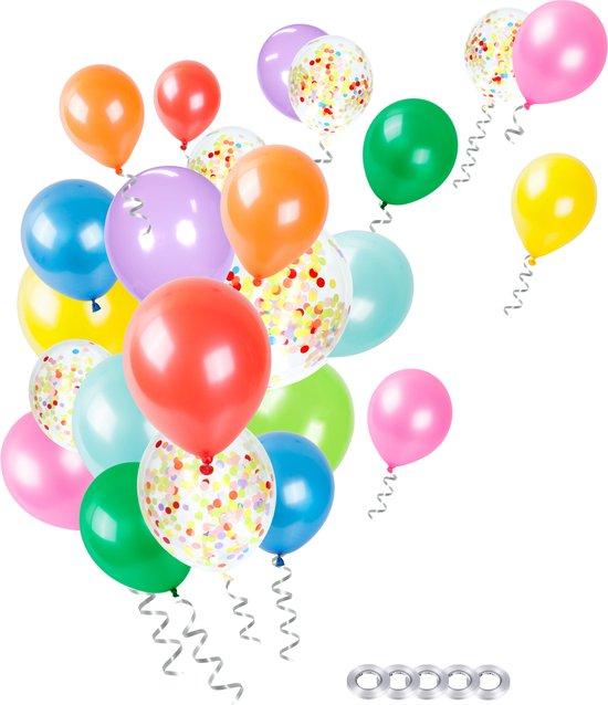 Partizzle® 50x Gekleurde Feest Confetti en Helium Ballonnen Set - Verjaardag Versiering - Regenboog Ballonnenboog Maken - Latex