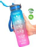 Migliore Waterfles 1 Liter -  Met Rietje - Waterjug - Bidon 1 Liter - Sportdrankfles - Grote Waterfles - Tijdmarkering - Motivatie Waterfles - Roze - Blauw
