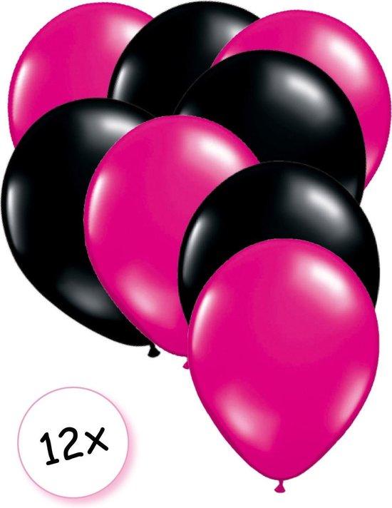Premium Quality Ballonnen Hot pink & Zwart 12 stuks 30 cm   Sweet 16