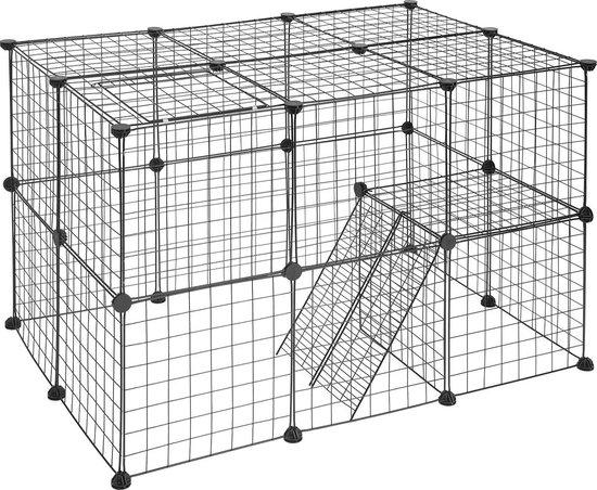 Spoint® Hondenren Buiten - Konijnenren - Kippenhok Met Ren - Hondenkennel - Dierenverblijf - Puppyren - Kippenren - 70CM Hoog