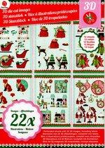 Decotime 3D Stansblok Kerst met 22 3D afbeeldingen met glitter, complete set | Kerstkaart maken