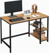 Bureautafel - Computertafel - Honing Bruin Hout en Zwarte Metalen - Bureau