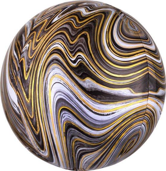 Folieballon Orb Marmer Zwart - 38 centimeter