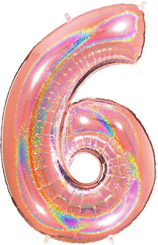 Folie Cijfer '6' Rosé Goud Holografisch - 100 Centimeter