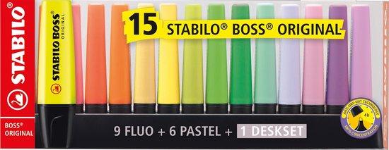 Markeerstiften STABILO BOSS ORIGINAL - DESKSET 9 FLUOKLEUREN + 6 PASTEL KLEUREN