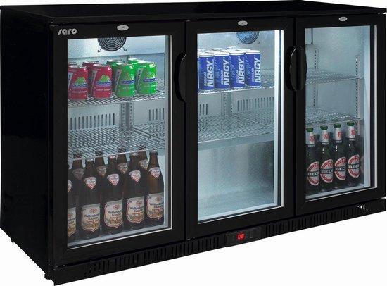 Koelkast: SARO Barkoeling - 3 glazen zelf sluitende opendraaiende deuren van dubbel glas - LED verlichting - 2 jaar garantie - professioneel model, van het merk