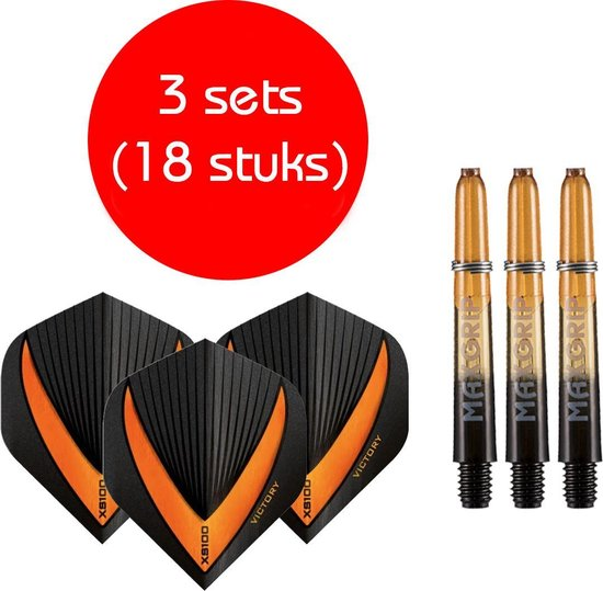 Dragon darts - Maxgrip – 3 sets - darts shafts - zwart-oranje - short – en 3 sets – Vista-X – darts flights