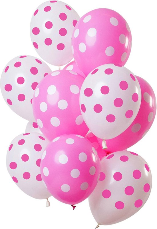 Ballonnen stippen roze - wit