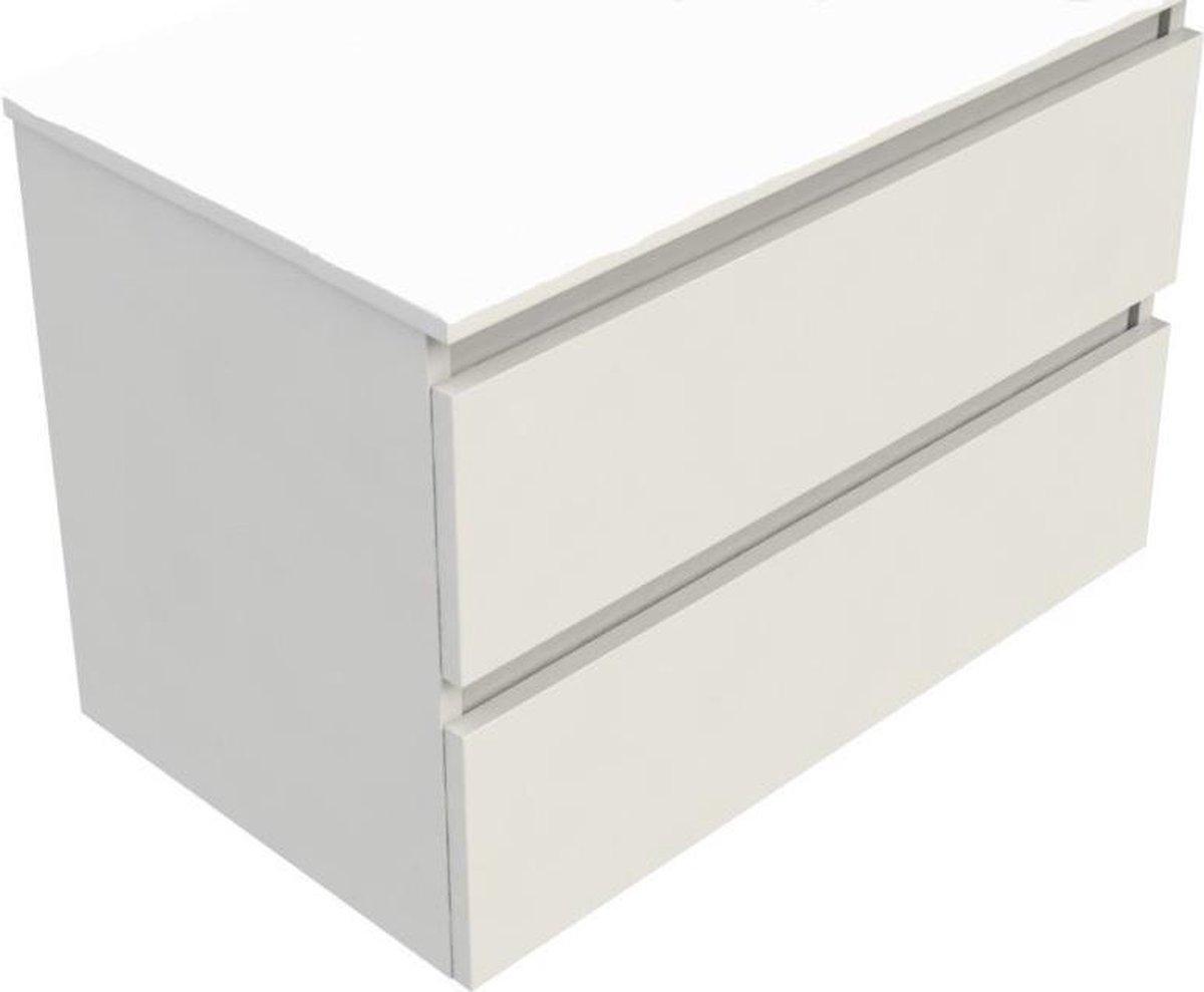 Sub 120 wastafelonderkast 60x46 cm met 2 laden, wit gelakt