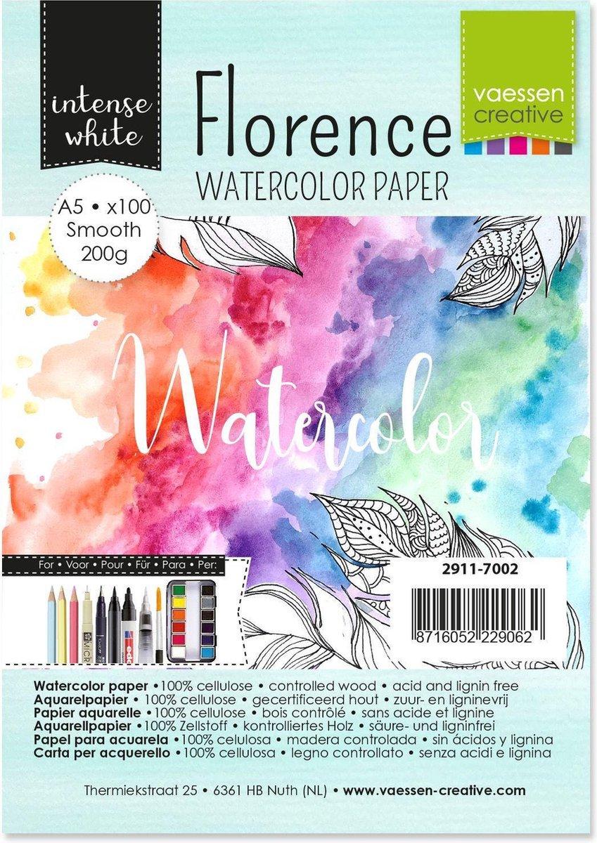 Vaessen Creative Florence Aquarelpapier A5, Glad, Wit, 200 gram, 100 vellen voor Waterverven, Schilderen, Handlettering en meer Kunstprojecten