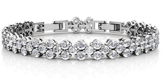 dames armband met 81 Swarovski kristallen – Zilver kleurige Armband - YO-169