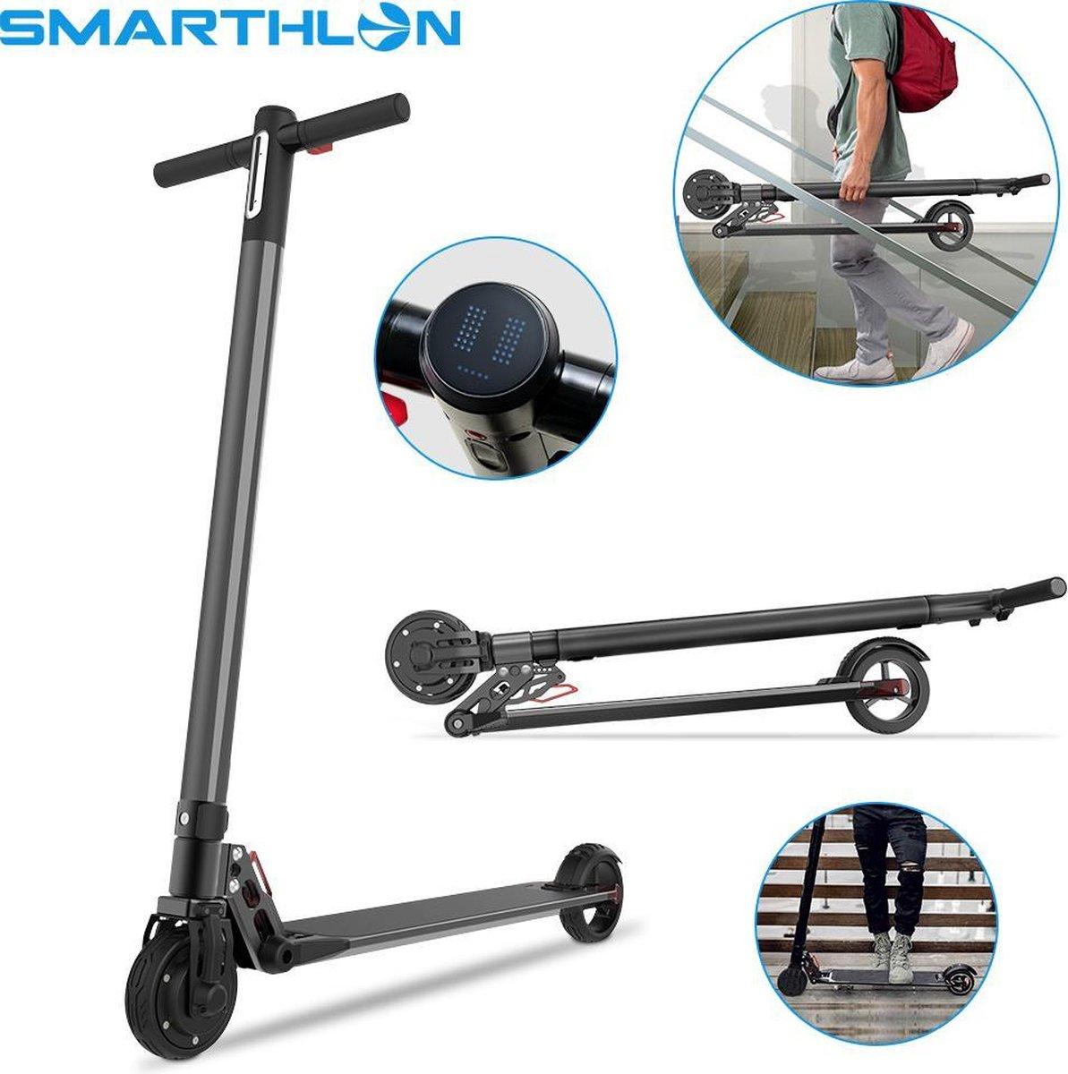 """Smarthlon 6"""" - Electrische Step Kick - E-Scooter Kick - Opvouwbaar - Zwart"""