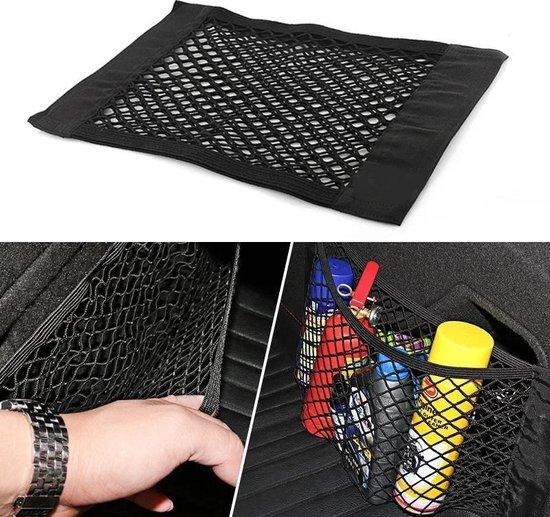 Afbeelding van LOUZIR  2 stuks zelfklevende opberg netten - Auto kofferbak organiser - elastisch -  opberg zak - organizer van 40 bij 25 cm – zwart