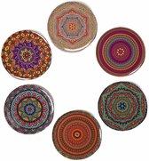 Onderzetters - Set van 6 - Rond - Onderzetters voor glazen - Bohemian - Oosterse - Mandala design - Coasters -