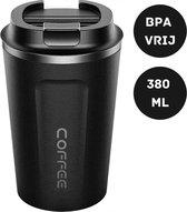 Relephance RVS Koffiebeker To Go - Thermos Beker - Reisbeker - Auto - Fitness - Reizen - BPA Vrij - 380 ml - Mat Zwart