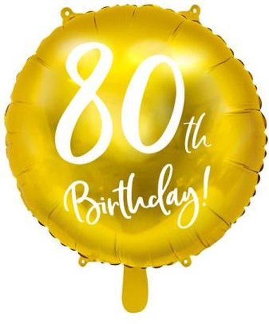 Folieballon 80 Jaar – 80 Jaar Versiering – Goud