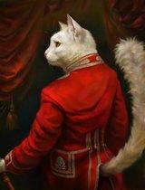 Schilderij Witte Kat in uniform 20x25 zonder lijst