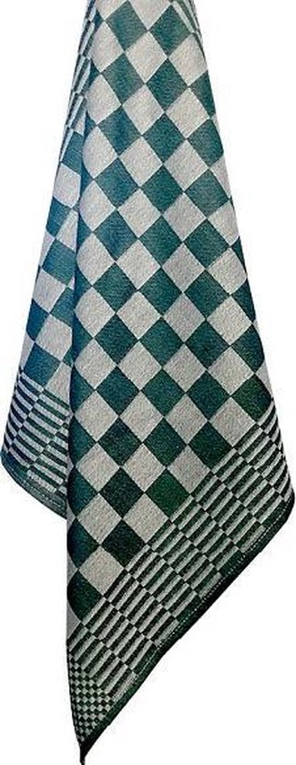 Homéé - Blokdoeken pompdoeken theedoeken - groen / wit - set van 12 stuks - 70 x 70 cm