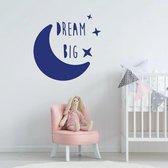 Muursticker Dream Big -  Donkerblauw -  80 x 80 cm  - Muursticker4Sale