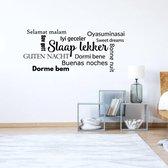 Muursticker Slaap Lekker In Diverse Talen -  Geel -  120 x 46 cm  - Muursticker4Sale