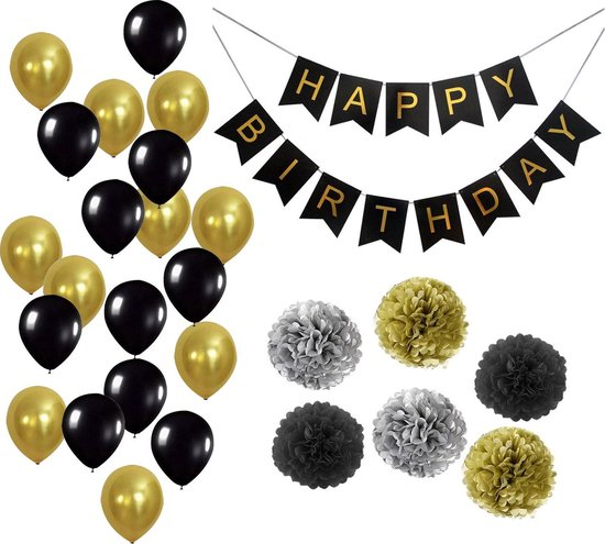 Bol Com Xxl Verjaardag Versiering Set Zwart Goud Ballonnen Slingers Feest Decoratie