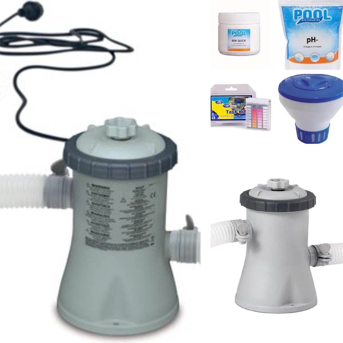 Intex Zwembad Filterpomp 12V - 1250 L/uur - Zwembad onderhoud reiniging Starterset mini Pool Power - pH- - Mini Quick chloor - Test Kit - Chloordrijver