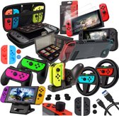 Luxergoods Nintendo Switch Accessoires – Nintendo Switch Case – Meest Volledige set (30-IN-1) – Nintendo switch console – Oplader – Standaard – Screenprotector – Grip Joy-Con – Siliconen Hoesjes – Game Card Case