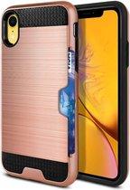 Apple iPhone XR Backcover - Roze - Card Case - Kaarthouder - Geborsteld