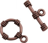 Metal toggle rope 15mm ant. copper plated