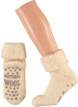 Wollen huis sokken voor dames ecru 35-38 - Warmte antislip sokken