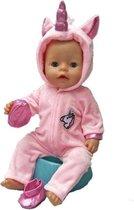 Poppenkleertjes | Geschikt voor Baby Born | Eenhoorn onesie met schoentjes| Roze | Met capuchon | Pyjama