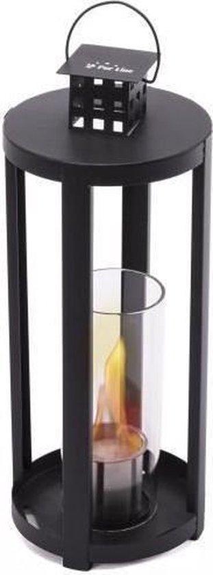PURLINE Chaos theelicht lantaarn bio ethanol zwart met rond glas