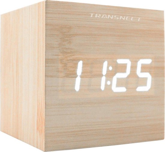Digitale wekker - Cube - Meerdere Alarmen - Met Datum & Temperatuurweergave - Sound Control - Dimbaar licht - Draadloos of met Adapter