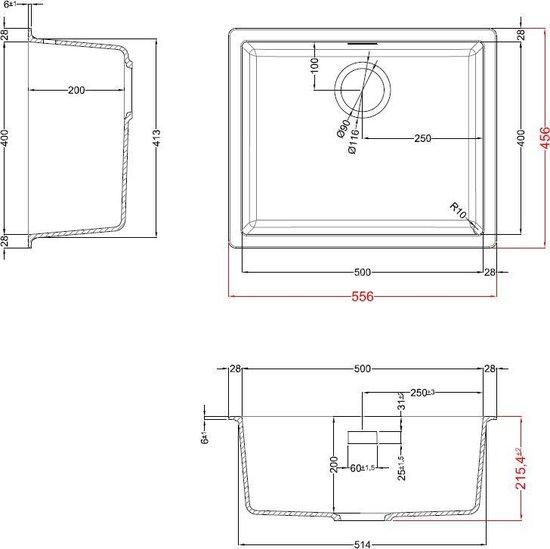 Zwarte Spoelbak 50 cm onderbouw/opbouw Mizzo Ambro – composiet