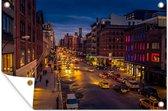 Straat in New York in de nacht Tuinposter 120x80 cm - Tuindoek / Buitencanvas / Schilderijen voor buiten (tuin decoratie)