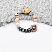 TippieToe - Speenkoord met naam Faya - Voor meisje - perzik/roze grijs wit en hout