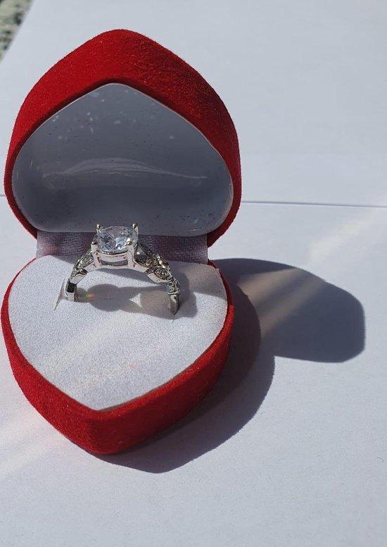Bruiloft, aanzoek, cadeau, romantiek, sieradendoos, Ringdoosje hartje, huwelijk, liefde - rood