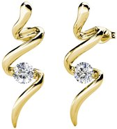 Yolora dames oorbellen met Swarovski kristal - 18K geelgoud vergulde oorknoppen - YO-E020-YG-CC