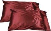 Satijnen (glad) kussensloop rood 60*70cm **BEST QUALITY** / bordeauxrood / silk pillowcase / satijn / geschenk / cadeautje voor haar