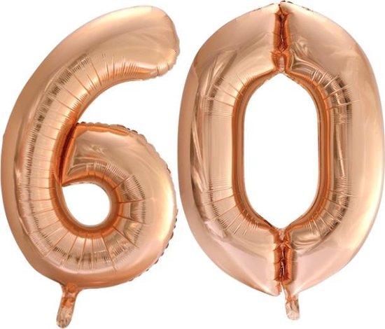 Folieballon nr. 60 Rosé Goud 86cm
