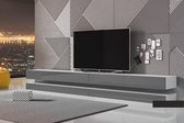 Maison's Tv meubel – Tv Kast meubel – Tv meubel – Tv Meubels – Tv meubels Wit – Wit – Grijs – No LED – Hylia – Minimalistisch – 280x45x34