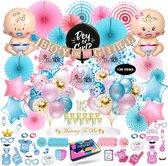 Fissaly® 139 Stuks Gender Reveal Baby Shower Ballonnen Decoratie Feestpakket – Geslachtsbepaling & Babyshower