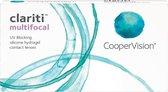 -4,00 - clariti® multifocal - Hoog - 6 pack - Maandlenzen - Multifocale contactlenzen
